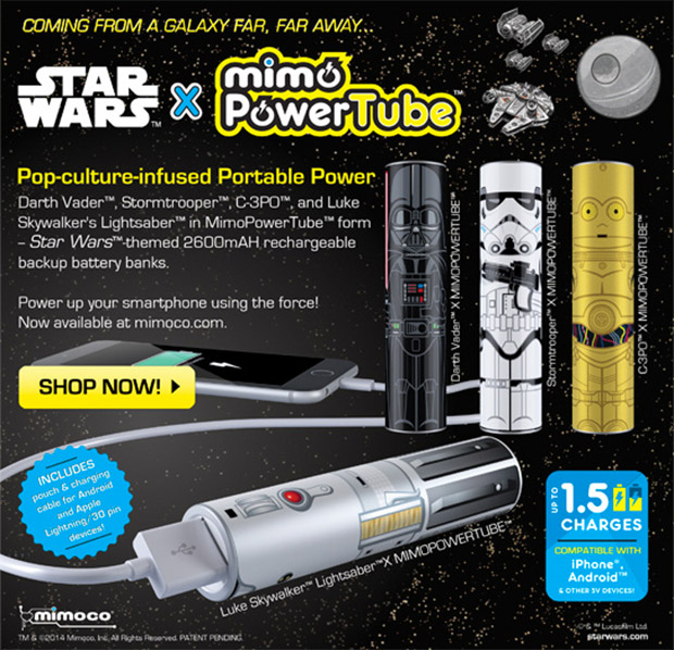 Mimoco Power Tubes Use the Force to Charge Your Phone