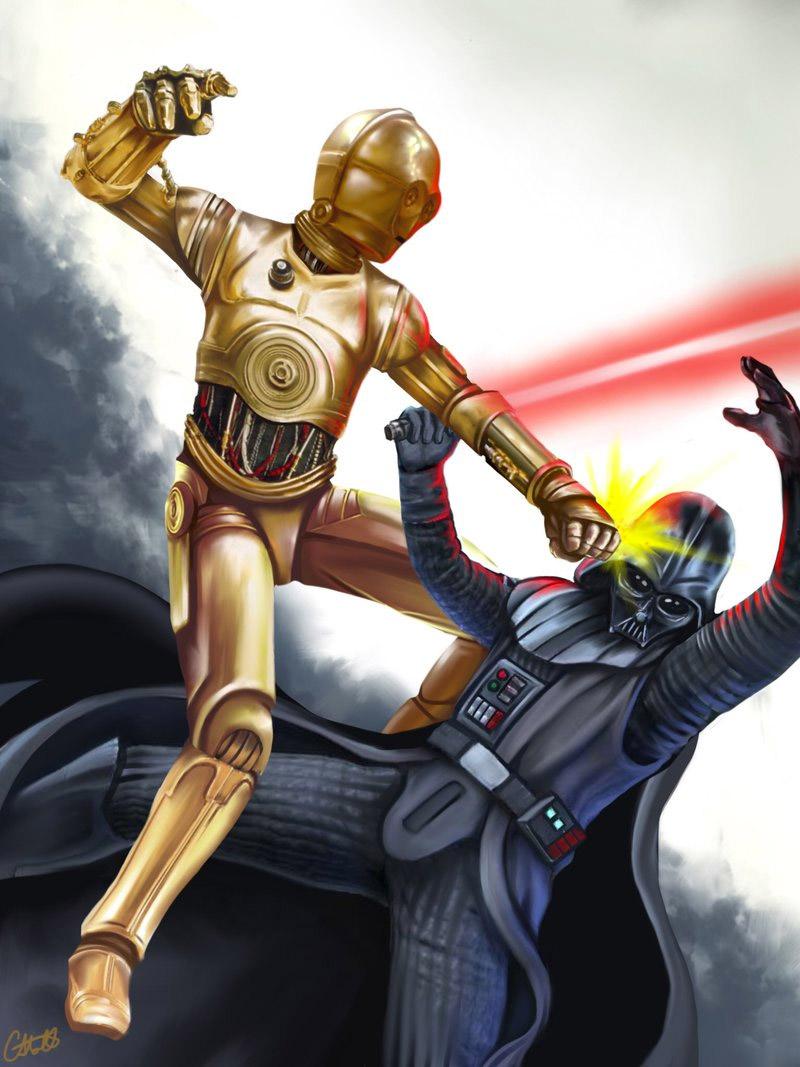 C-3PO Beats Down Darth Vader