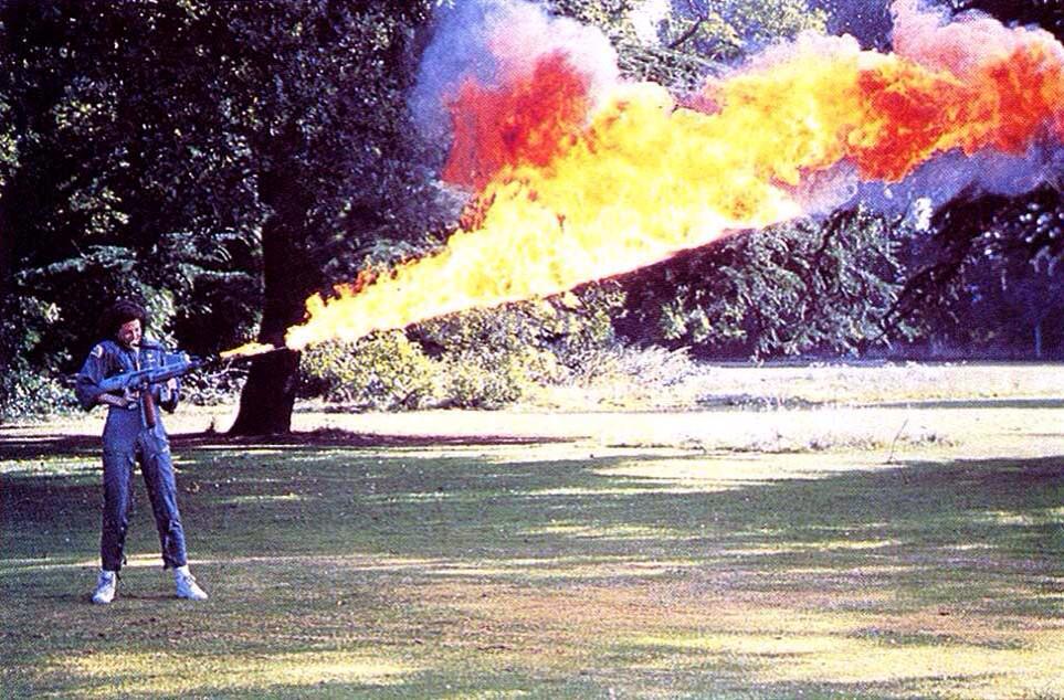 Sigourney Weaver Tests Her Alien Flamethrower