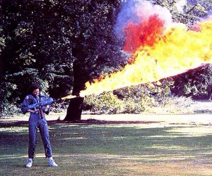 Sigourney Weaver Tests Her Alien Flamethrower