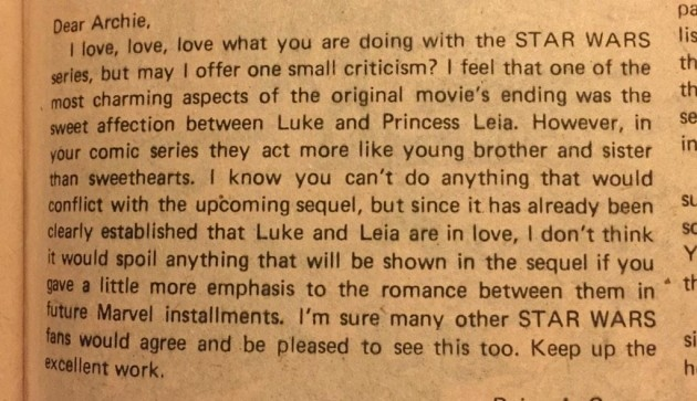 1979 Letter: Luke And Leia Need to Kiss More