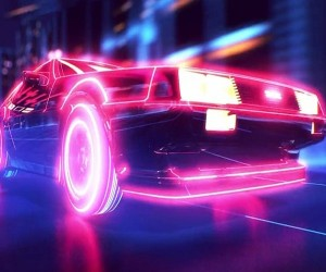 Back to the Future and TRON Mashed up in Retrowave