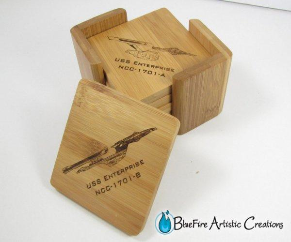 Star Trek Bamboo Coasters and Cutting Board