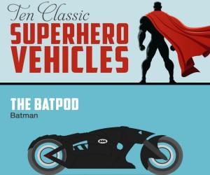 Ten Classic Superhero Vehicles Infographic