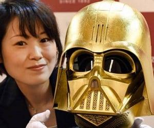 Golden Darth Vader Mask on Display in Japan