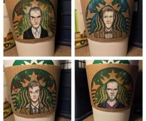 The 12 Doctors as the Starbucks Logo