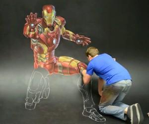 Iron Man 3D Chalk Art