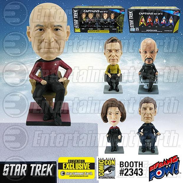 Star Trek Captains Monitor Mate Bobble Heads Set