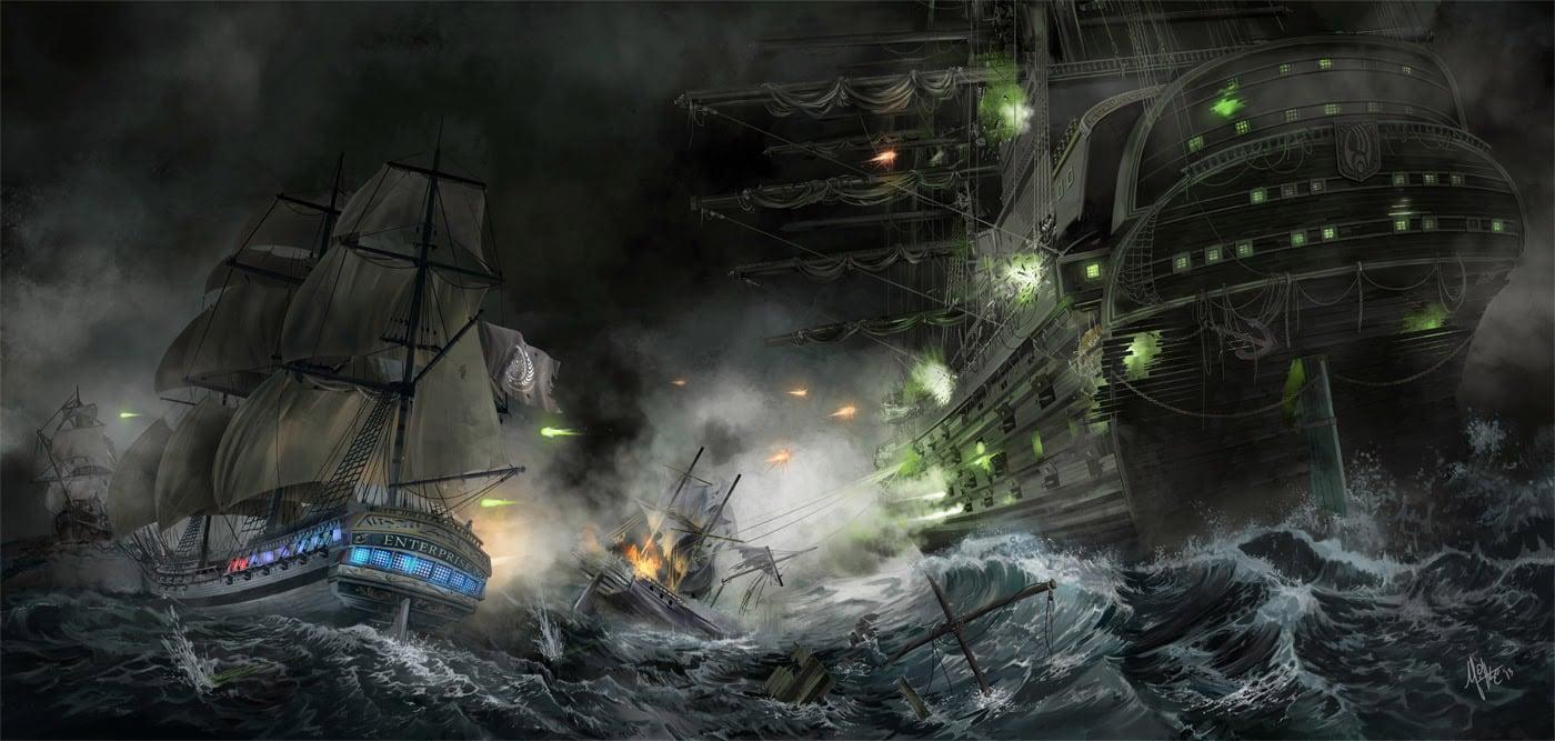Star Trek Borg Ship Naval Battle Art Print