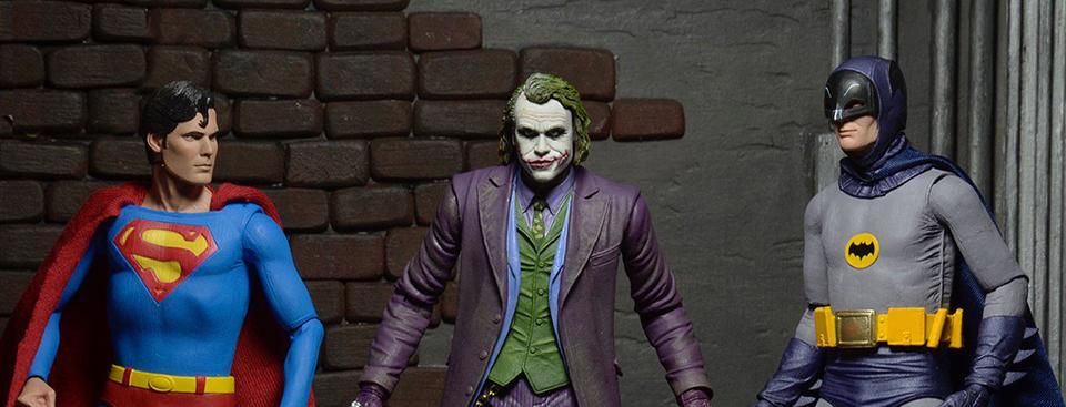 NECA 7″ Reeve Superman, West Batman & Ledger Joker Figures