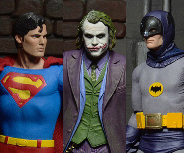 NECA 7″ Reeve Superman, West Batman & Ledger Joker Figures