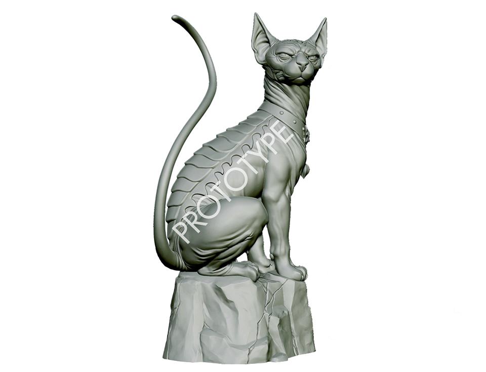 Saga Lying Cat Statue