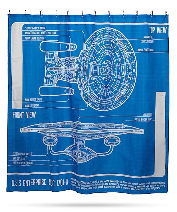 Star Trek: TNG Enterprise Blueprint Shower Curtain