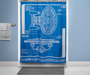 Star Trek: TNG Enterprise Blueprint Shower Curtain