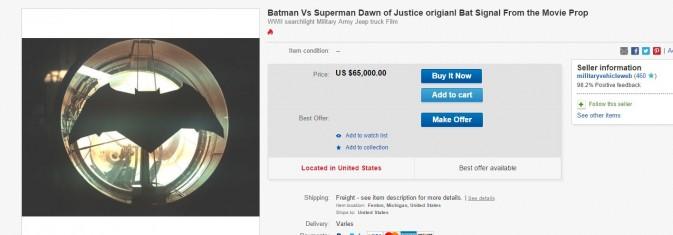Batman v Superman Bat Signal Turns up on eBay