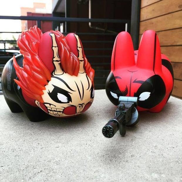 Kidrobot Deadpool & Ghost Rider Labbit Figures