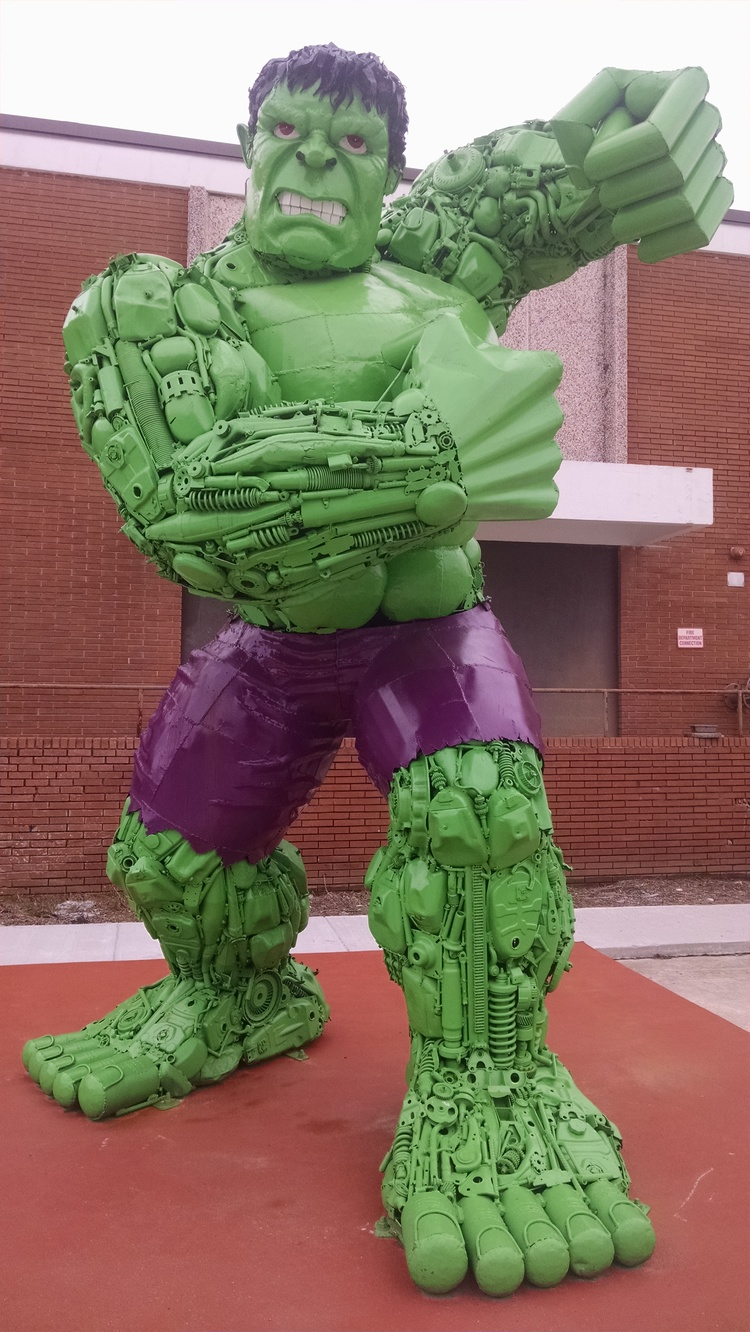 Hulk Sculpture Made out of Car Parts
