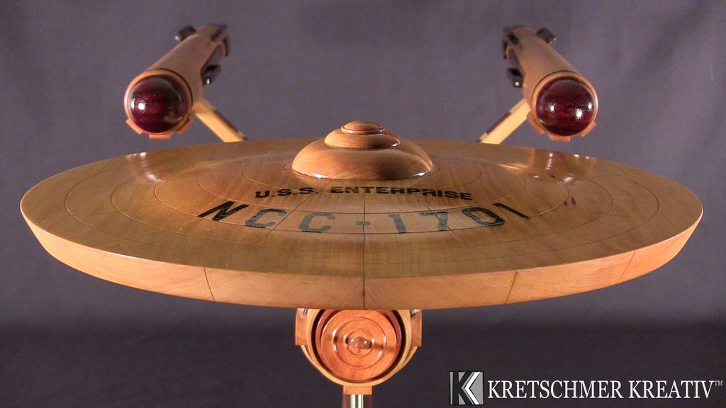Amazing USS Enterprise Model Made Entirely from Wood
