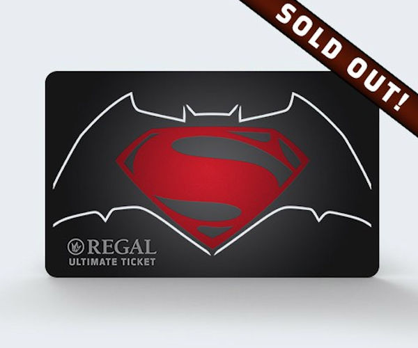"""Batman v Superman """"Ultimate Tickets"""" Sold out"""