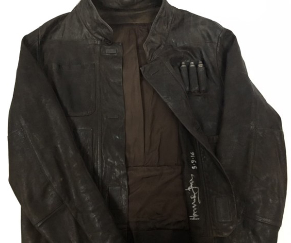 Star Wars The Force Awakens Han Solo Autographed Jacket Being Auctioned Off