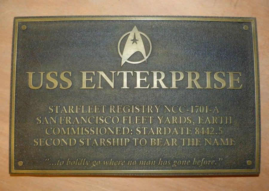 Star Trek USS Enterprise Dedication Plaque