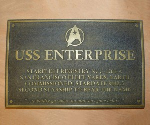 Star Trek USS Enterprise Dedication Plaque