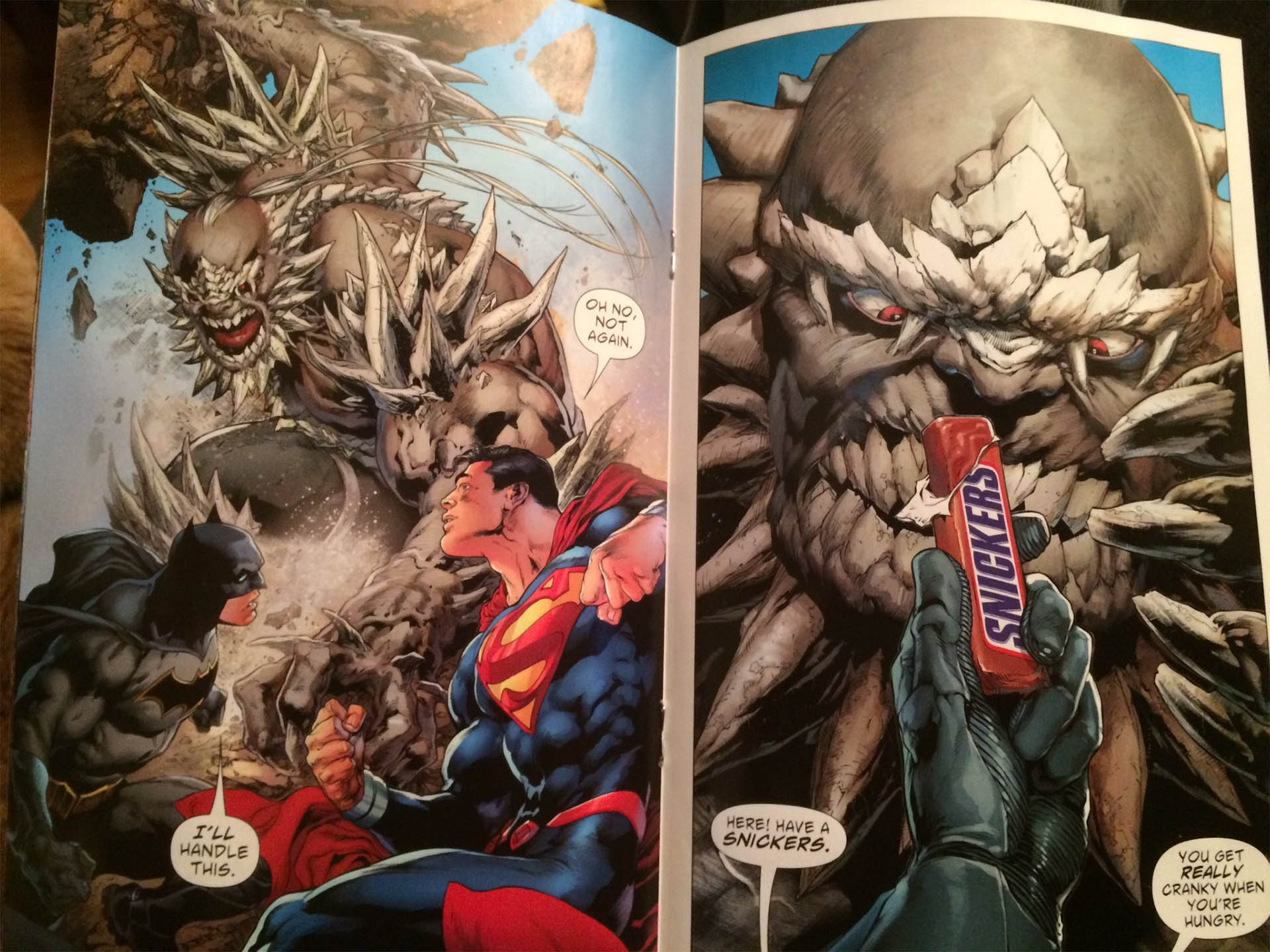 Superman Fights Doomsday with a Snickers Bar