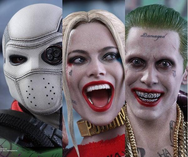 Hot Toys Deadshot, Harley Quinn & Purple Coat Joker 1/6th Scale Figures