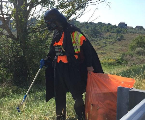 Darth Vader Adopts a Highway, Picks up Roadside Trash