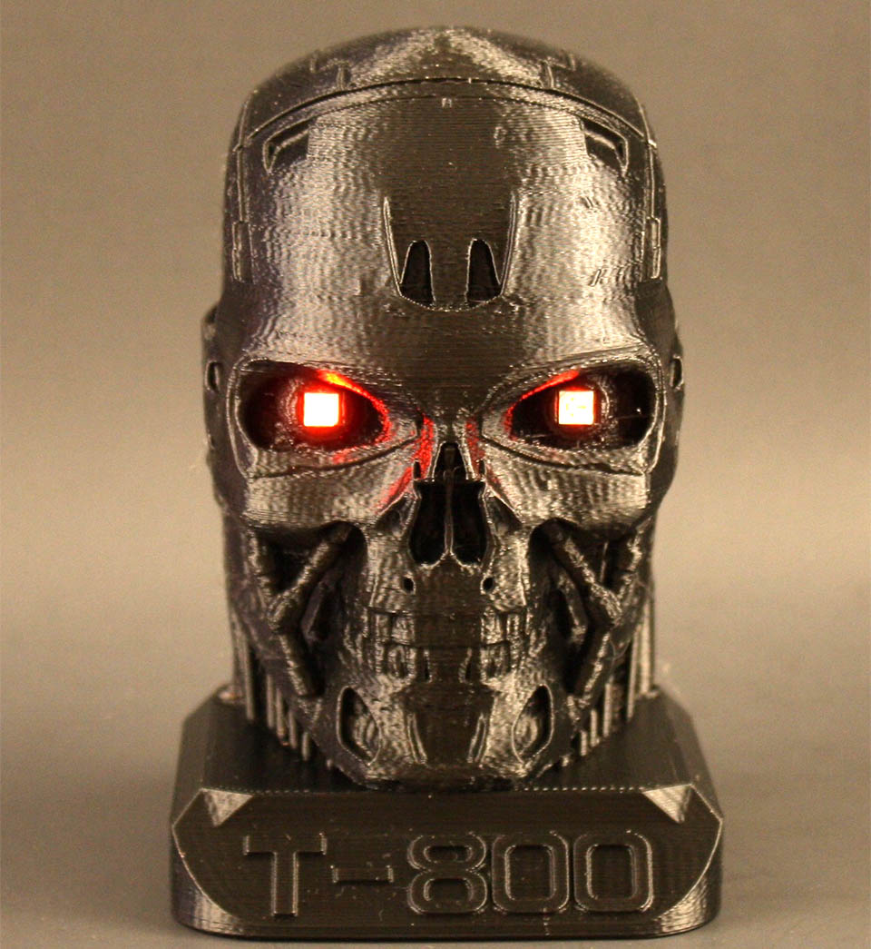 3D Printed Terminator Head with Glowing Eyes