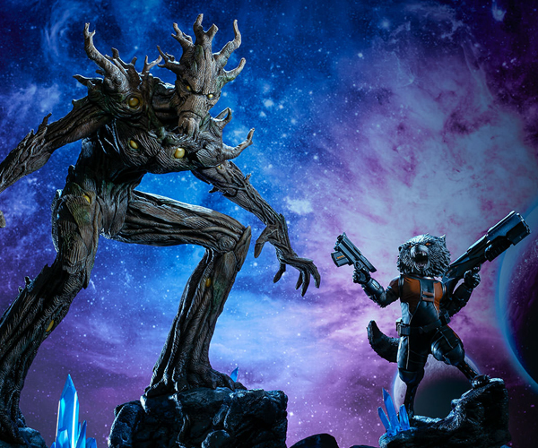Sideshow Groot & Rocket Raccoon Statues