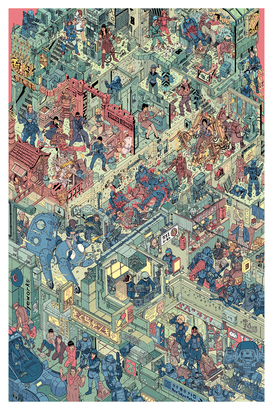Sci-fi & Fantasy Characters Congregate in The Raid Print